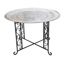 Moroccan  Vintage Aluminium Tray Or Table with Wrought Iron Legs Diameter 75 cm. 29.5'' (ALT18)